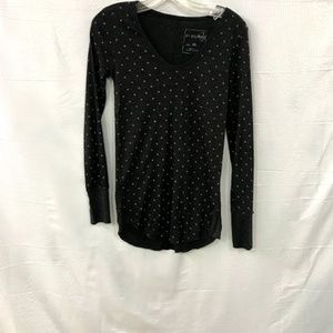 Free People Polka Dot Henley Waffle Knit Top